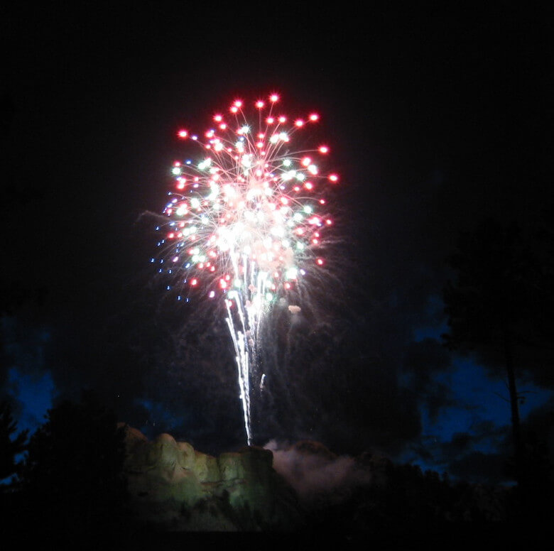 Beautiful Fireworks over Mount Rushmore
