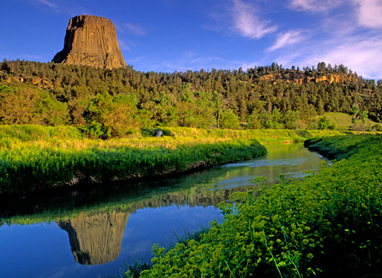 Belle Fourche River Flows Past Devils Tower