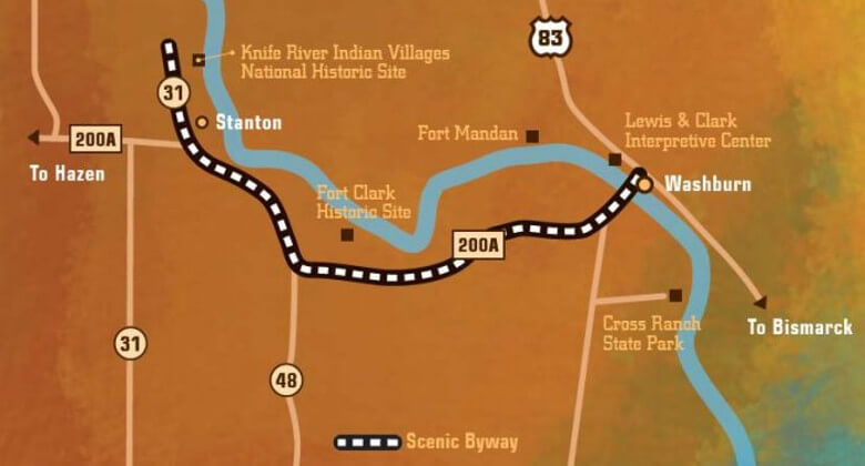 Map of Sakakawea Scenic Byway