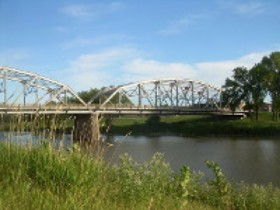 Sorlie Memorial Bridge is a Parker style Truss Bridge built over the Red River