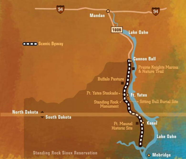 Map of Standing Rock National Native American Scenic Byway